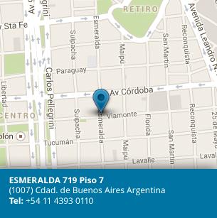ESMERALDA 719 Piso 7. (1007) Cdad. de Buenos Aires Argentina. Tel: +54 11 4314 0315